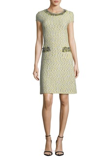 St. John Romee Tweed Fringe-Pocket Dress