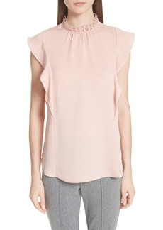 St. John Collection Ruffle Double Silk Georgette Top