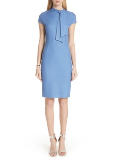 St. John Collection Sarga Knit Twill Knotted Tie Dress