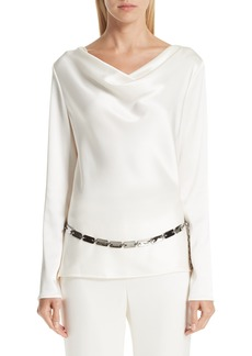 St. John Collection Satin Cowl Neck Blouse