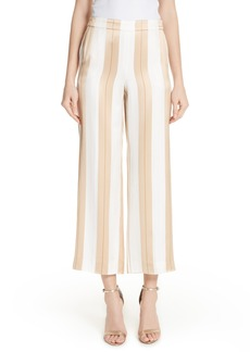 St. John Collection Satin Twill Stripe Straight Leg Pants