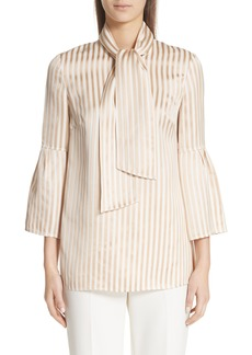 St. John Collection Satin Twill Stripe Tie Neck Blouse