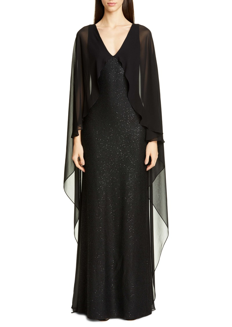 St. John Collection Sculpted Sequin Tuck Knit Gown