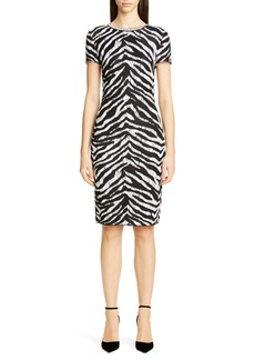 St. John Collection Sculpted Zebra Jacquard Sweater Dress