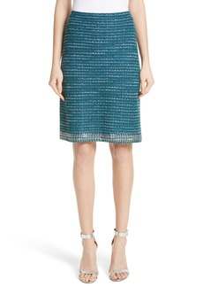 St. John Collection Sequin & Sheen Tweed Knit A-Line Skirt