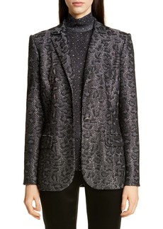 St. John Collection Sequin Animal Jacquard Knit Jacket