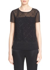 St. John Collection Sequin Embellished Silk Georgette Top
