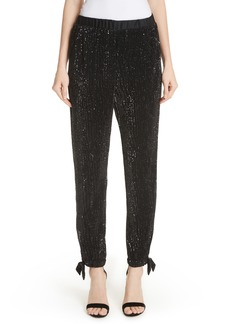 St. John Collection Sequin Embellished Tie Cuff Pants