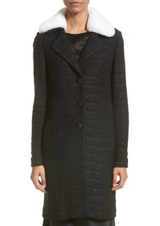 St. John Collection Sequin Knit Topper with Detachable Genuine Rabbit Fur Collar