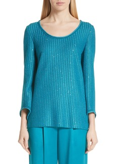 St. John Collection Sequin Rib Knit Sweater