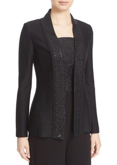 St. John Collection Sequin Shimmer Twill Knit Jacket