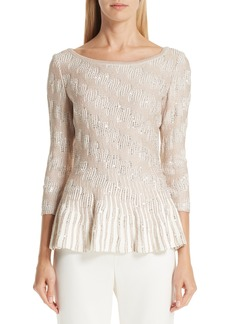 St. John Collection Sequin Trellis Knit Top