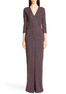 St. John Collection Sequin Tweed Knit Evening Gown