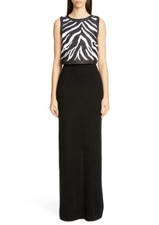 St. John Collection Sequin Zebra Jacquard Knit Column Gown