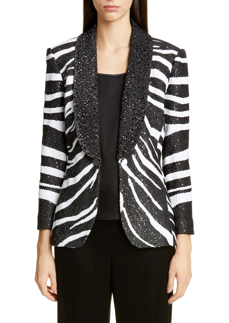 St. John Collection Sequin Zebra Jacquard Knit Jacket