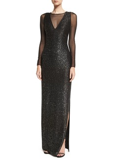 St. John Collection Sequined Knit Long-Sleeve Gown