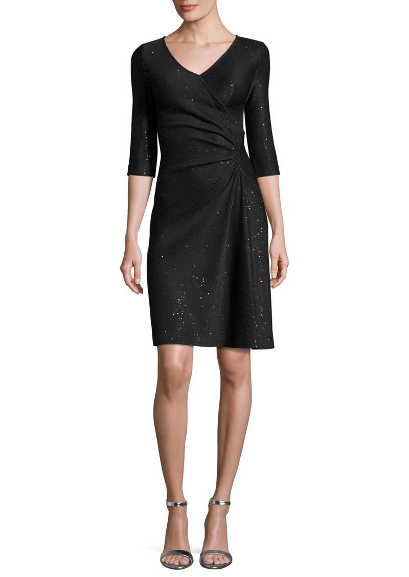 fda9a4e047ee St. John St. John Collection Sequined Knit V-Neck 3 4-Sleeve Dress ...