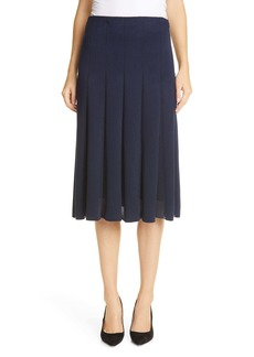 St. John Collection Sheer Inset Modern Piqué Skirt
