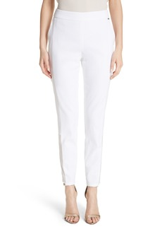 St. John Collection Sheer Inset Stretch Twill Pants