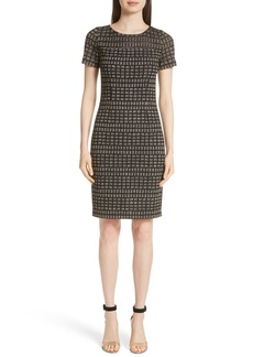St. John Collection Shimmer Rectangle Jacquard Knit Dress