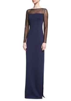 St. John Collection Shimmery Long-Sleeve Evening Gown