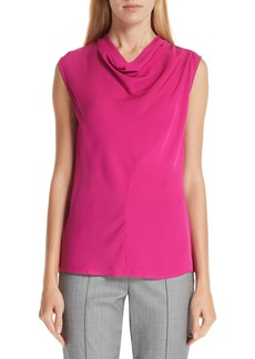 St. John Collection Silk Georgette Cowl Neck Blouse