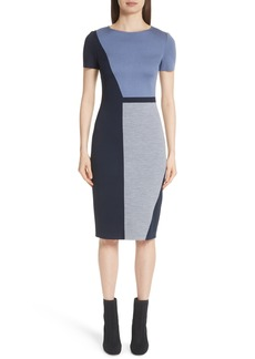 St. John Collection Slanted Colorblock Milano Knit Sheath Dress