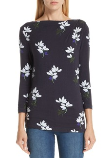 St. John Collection Small Scale Painted Floral Print Top