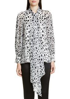 St. John Collection Snow Leopard Devoré Chiffon Blouse