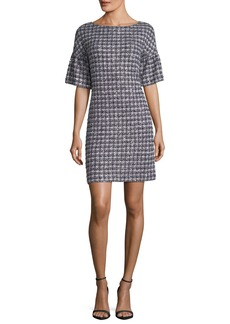 St. John Soft Plaid Tweed Half-Sleeve Dress