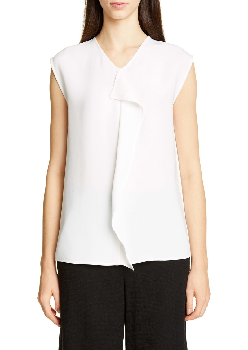 St. John Collection Solid Heavy Georgette Sleeveless Blouse