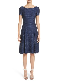 St. John Collection Sparkle Sequin Knit Fit & Flare Dress
