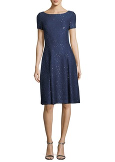 St. John Sparkle Sequin Knit Fit-and-Flare Cocktail Dress