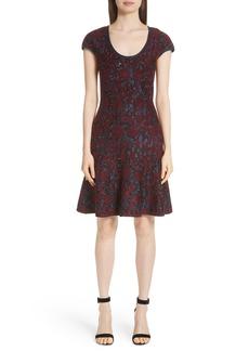 St. John Collection Sparkle Velvet Jacquard Fit & Flare Dress