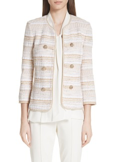 St. John Collection Speckled Stripe Tweed Knit Jacket