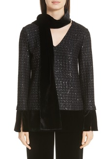 St. John Collection Sprinkled Sequin Lattice Knit Top