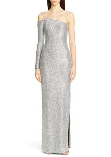 St. John Collection Statement Asymmetrical One-Shoulder Sequin Knit Gown