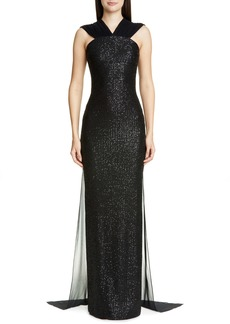 St. John Collection Statement Sequin Knit Evening Gown
