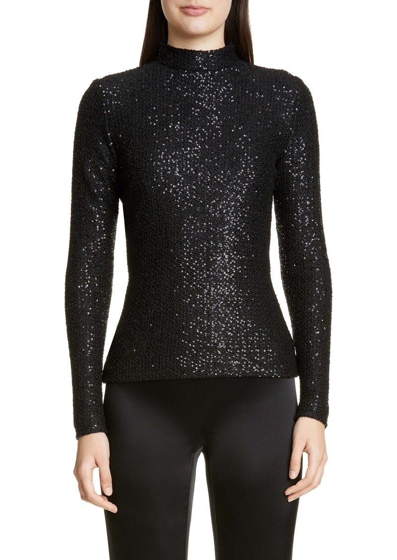 St. John Collection Statement Sequin Knit Mock Neck Top