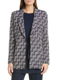 St. John Collection Stepped Wicker Inlay Knit Jacket