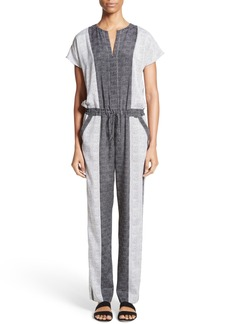 St. John Collection Stitch Print Stretch Silk Jumpsuit