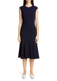 St. John Collection Stretch Cady Fit & Flare Dress