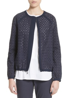 St. John Collection Stretch Cotton Eyelet Jacket