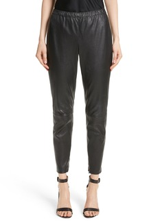 St. John Collection Stretch Nappa Leather Crop Pants