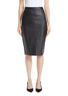 St. John Collection Stretch Nappa Leather Pencil Skirt