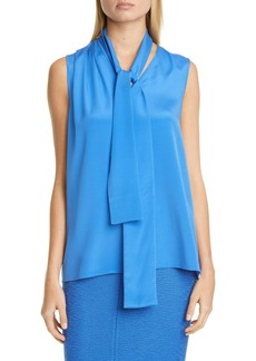 St. John Collection Stretch Silk Crêpe de Chine Shell with Removable Tie