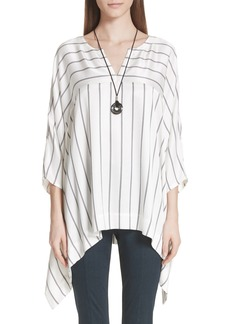 St. John Collection Stripe Drapey Herringbone Top