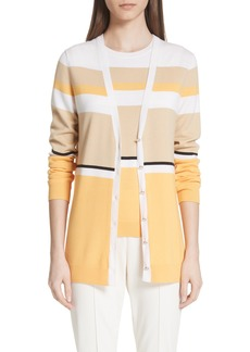 St. John Collection Stripe Jersey Knit Cardigan