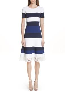 St. John Collection Stripe Luxe Sculpture Knit Dress