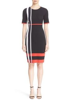 St. John Collection Stripe Sculpture Jacquard Knit Dress